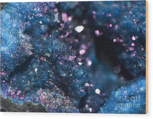 Geode Abstract Teal Wood Print