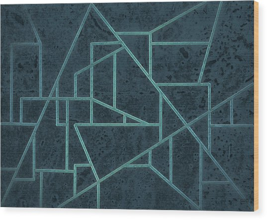 Geometric Abstraction In Blue Wood Print