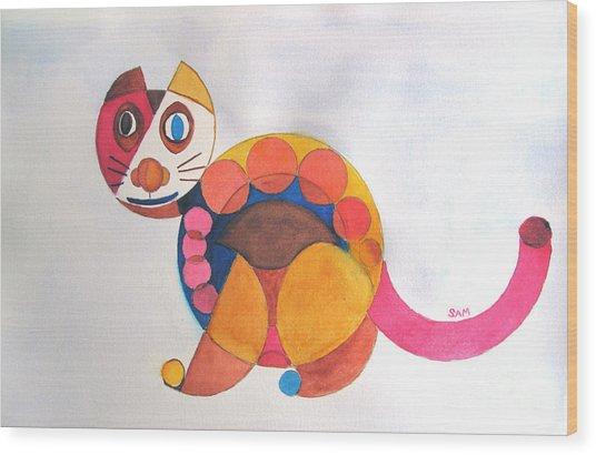 Geometric Cat Wood Print