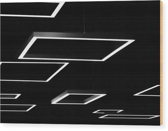 Geometric Light Fixtures At Waukesha State Bank Wood Print