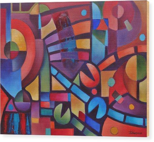 Geometric Music Wood Print