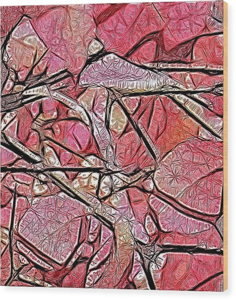 Geometry Of Leaves In Pink Wood Print