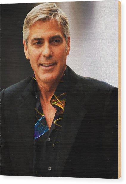 George Clooney Painting Wood Print