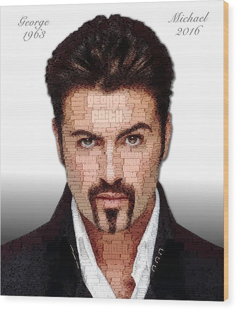 Wood Print featuring the digital art George Michael Tribute by ISAW Company