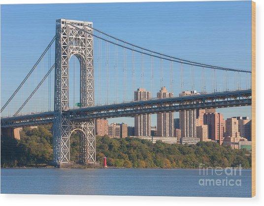 George Washington Bridge And Lighthouse II Wood Print
