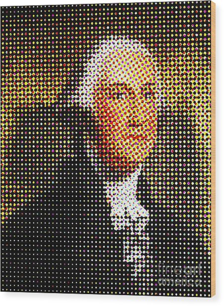 George Washington In Dots  Wood Print