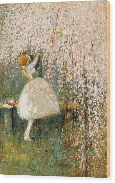 Georges Picard French 1857 1946 Romance Under The Blossom Tree Wood Print
