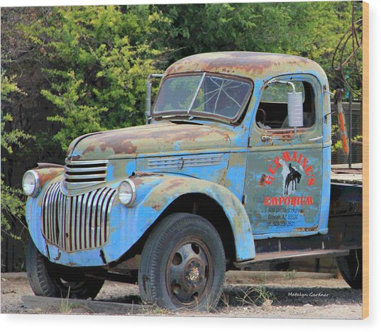 Geraine's Blue Truck Wood Print