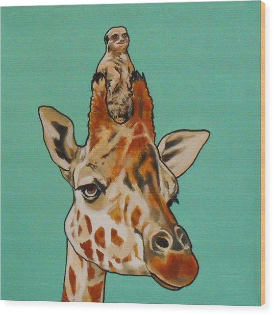 Gerald The Giraffe Wood Print