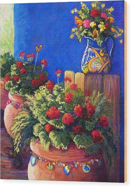 Geraniums And Talavera Wood Print by Candy Mayer