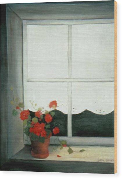 Geraniums In Window Wood Print by Glenda Barrett