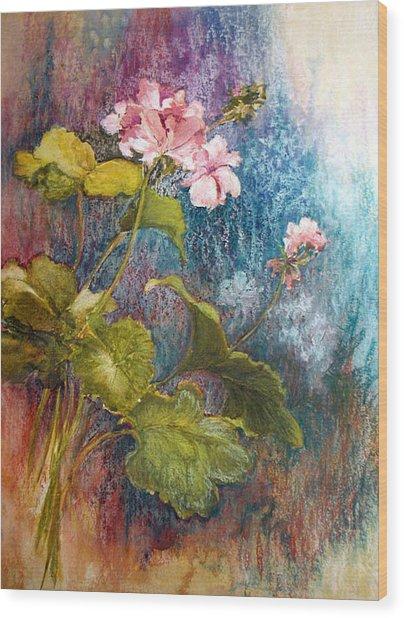 Geraniums Wood Print by Lois Mountz