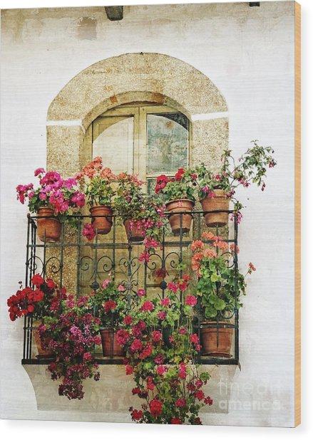 Geraniums On Balcony Wood Print