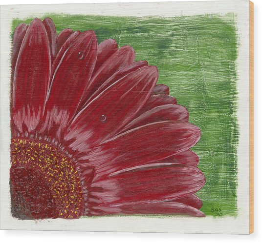 Gerber Daisy- Red Wood Print
