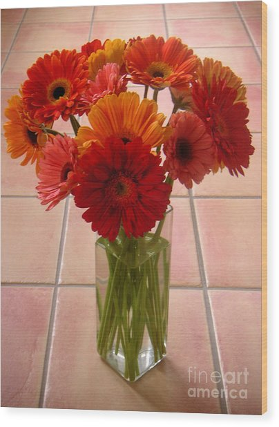 Gerbera Daisies - On Tile Wood Print by Lucyna A M Green