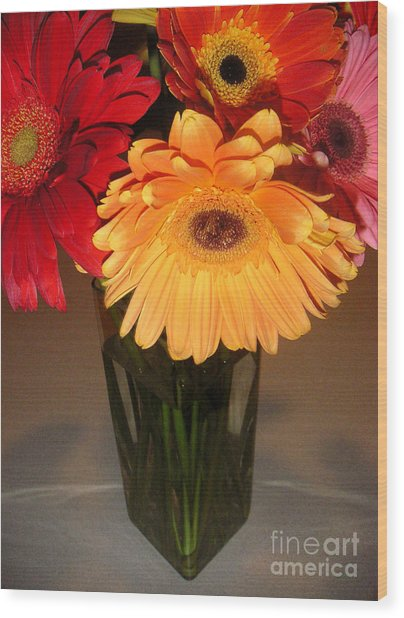 Gerbera Daisies - Vased Wood Print by Lucyna A M Green