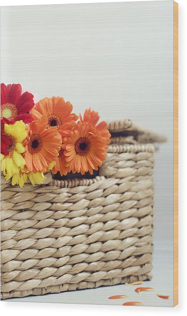 Gerbera In A Basket Wood Print
