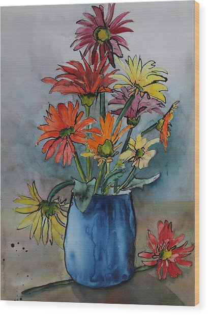 Wood Print featuring the painting Gerberas In A Blue Pot by Ruth Kamenev