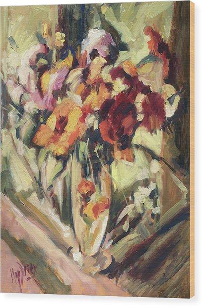 Gerberas In Glass Vase Wood Print