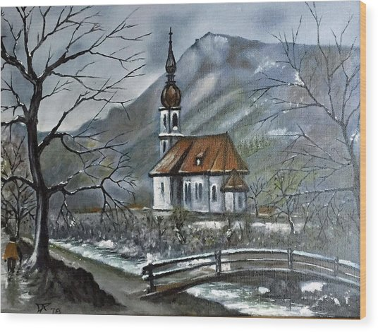 German Church At Ramsau  Wood Print