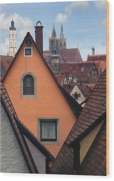 German Rooftops Wood Print