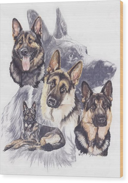German Shepherd Medley Wood Print