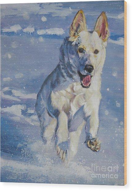 German Shepherd White In Snow Wood Print