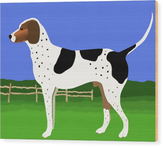 German Shorthaired Pointer In A Field Wood Print