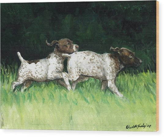 German Shorthaired Pointer Pups Wood Print