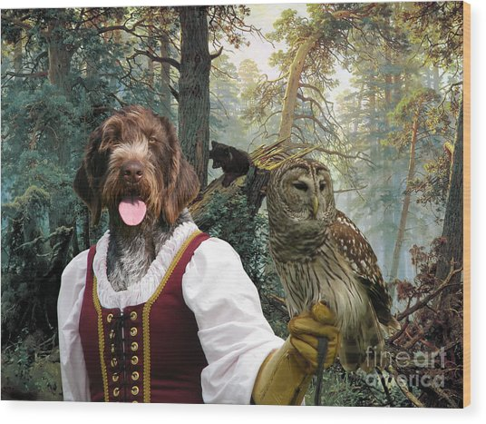 German Wirehaired Pointer Art Canvas Print - Lady Owl And Little Bears Wood Print