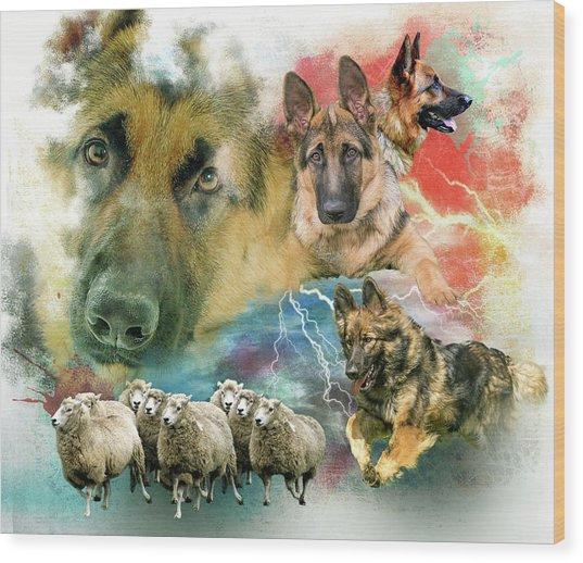 German Shepherd Collage Wood Print