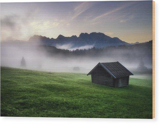 Geroldsee Forest With Beautiful Foggy Sunrise Over Mountain Peaks, Bavarian Alps, Bavaria, Germany. Wood Print