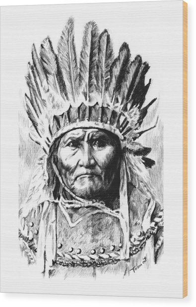 Geronimo With Feathers Wood Print