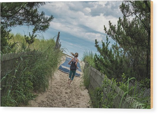 Get To The Beach Wood Print