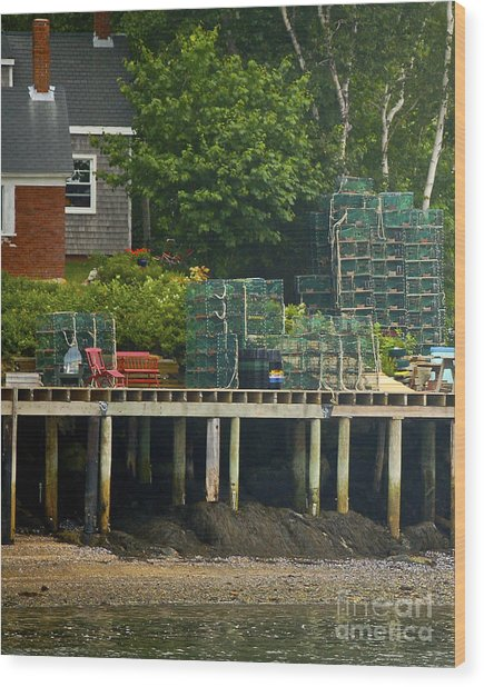 Getting Ready To Lobster Wood Print by Faith Harron Boudreau