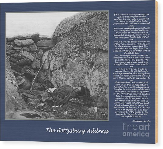 Gettysburg Address Civil War Devils Den Wood Print by Randy Steele