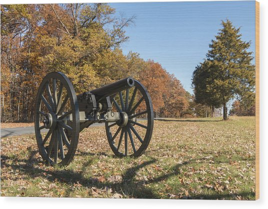 Gettysburg - Cannon In East Cavalry Battlefield Wood Print