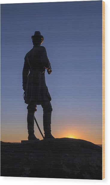 Gettysburg - Gen. Warren At Sunset Wood Print