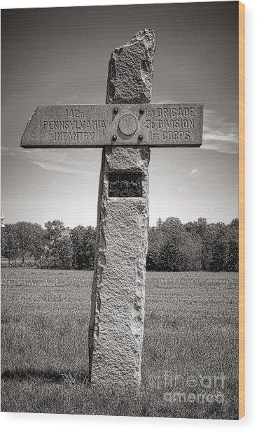 Gettysburg National Park 142nd Pennsylvania Infantry Monument Wood Print