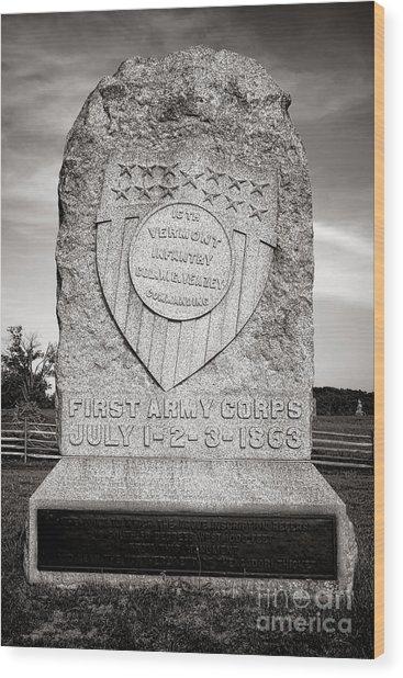 Gettysburg National Park 16th Vermont Infantry Monument Wood Print
