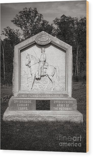 Gettysburg National Park 4th Pennsylvania Cavalry Monument Wood Print