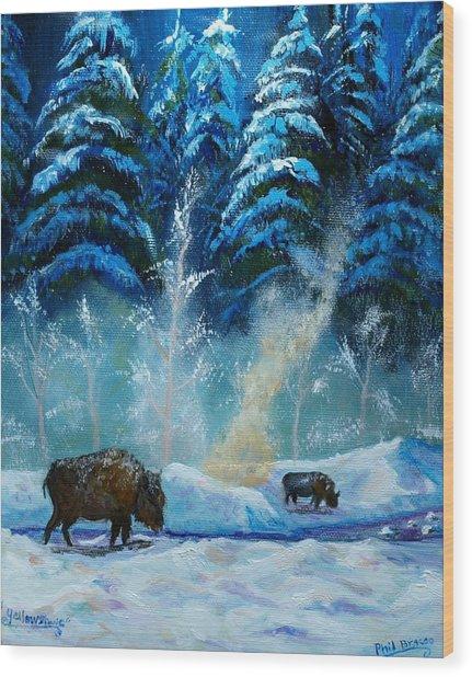 Geysers And Bison Wood Print