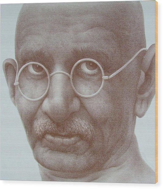Ghandi Wood Print by Gary Kaemmer