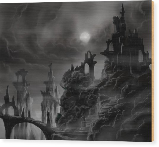 Ghost Castle Wood Print