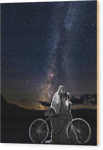 Ghost Rider Under The Milky Way. Wood Print