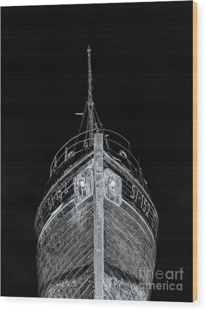 Ghost Ship Old Wooden Fishing Boat At Night Iceland Wood Print