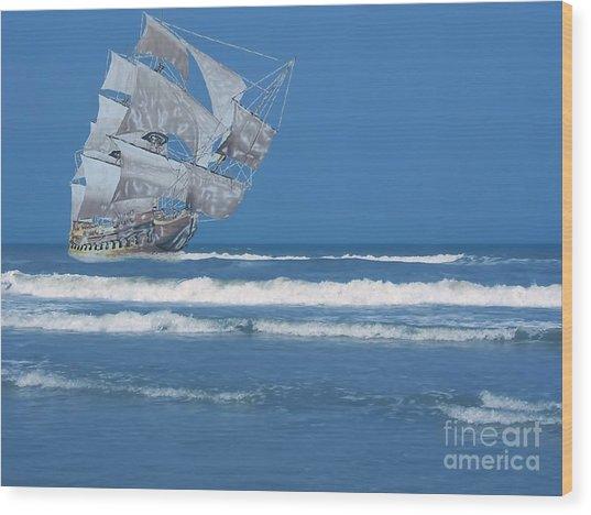 Ghost Ship On The Treasure Coast Wood Print