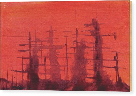 Ghost Ships Wood Print