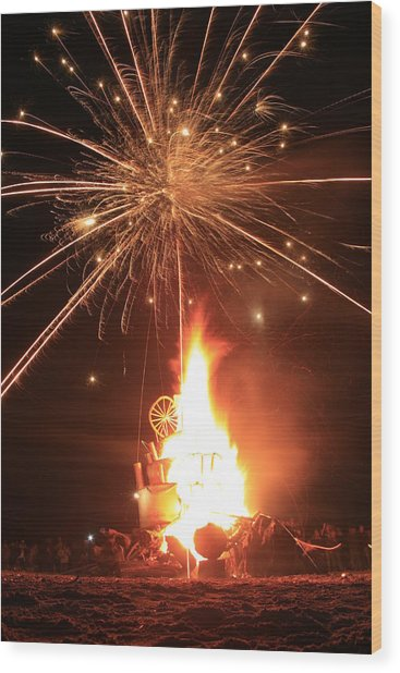 Giant Birthday Cake With Fireworks On Top Wood Print by Dave Brooksher