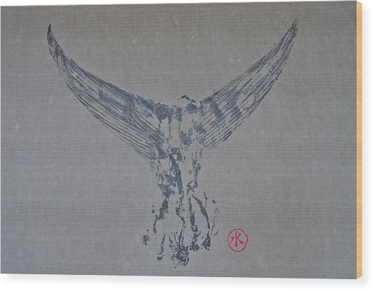 Giant Bluefin Tuna Tail On Rice Paper Wood Print